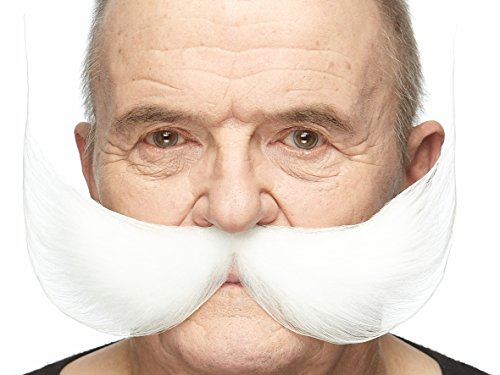 Mustaches Self Adhesive Fake Mustache, Novelty, Fisherman's False Facial Hair, Costume Accessory for Adults, White -