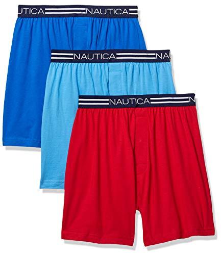 Nautica Men's Classic Cotton Exposed Waistband Knit Boxer,Sea Cobalt/Aero Blue/Nautica Red,X-Large