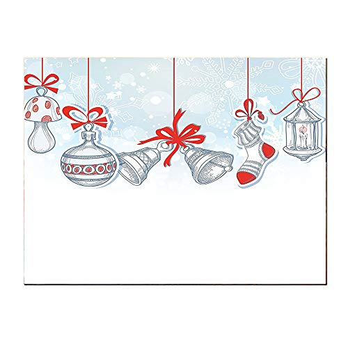 SATVSHOP Print Oil painting-24Lx24W-Retro Style Famous Xmas Socks for Toys and Candy Cane Bells and Snowflake Graphic White ed.Self-Adhesive backplane/Detachable Modern Decorative Art.