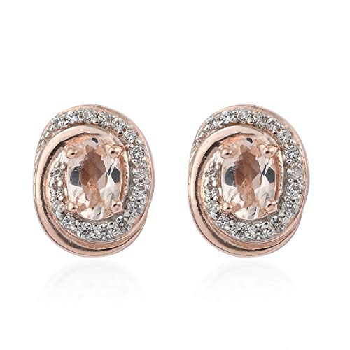 Stud Solitaire Earrings 925 Sterling Silver Vermeil Rose Gold Morganite Zircon Jewelry for Women Ct 1.8