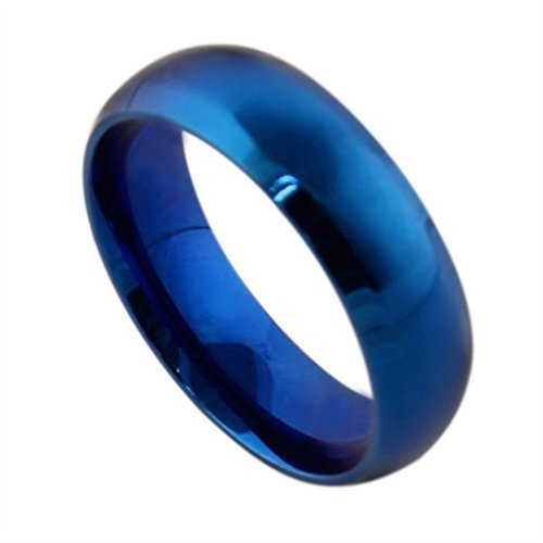 AMDXD Jewelry Titanium Stainless Steel Jewellery Women's Fashion Rings Bands Smooth Blue US Size 5