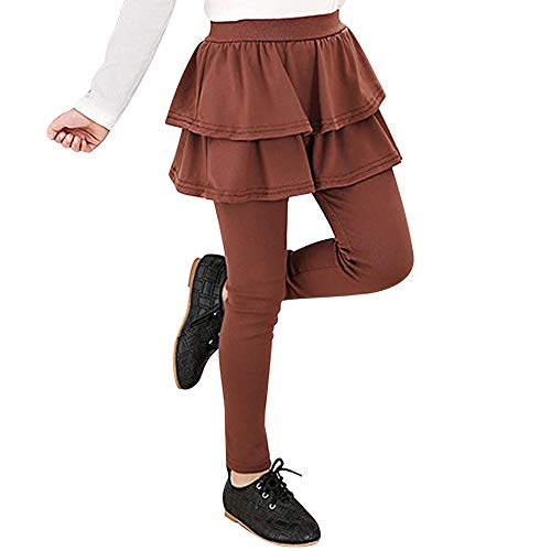 - Auranso Kids Little Girls Footless Stretchy Leggings with Ruffle Tutu Skirt Tights Pants 2-10 Years Coffee