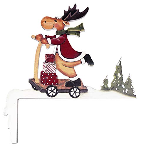 khevga Decorative Wood Reindeer with Scooter Christmas Decoration for Door Frame - Christmas Door Decorations-Decor (Christmas Decorations Frame Door)