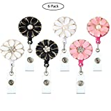 KOBWA Retractable Badge Holder with Swivel Alligator Clip, Sun Flower ID Name Card Badge Reel for Nurse Doctors Teachers, 2 Pack