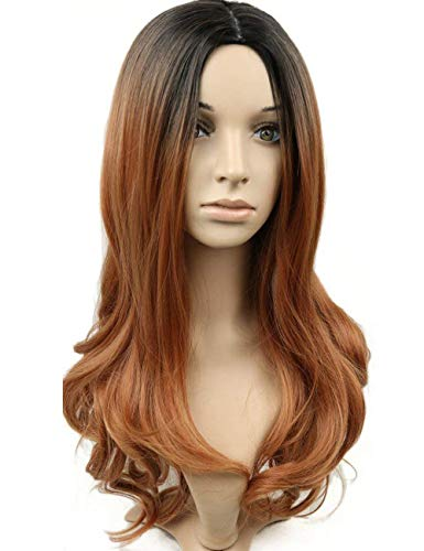 Topwigy Women Long Ombre Brown Wavy Wig 16 Inches Curly Body Wave Wig Synthetic Full Wig for Dating -