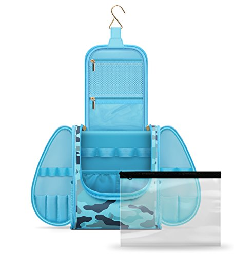 Water Resistant Hanging Travel Toiletry Kit Organizer with T