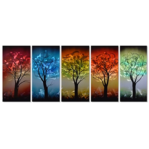 Pure Art From Dusk til Dawn Multi-Colored Tree Metal Wall Art
