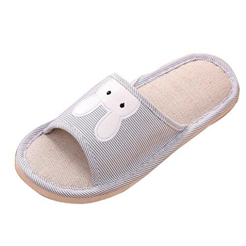 Tissu Chaussures Été de Flops Chaussures Petit Pantoufles Plat Gris Sandales Bohème Maison Forme Coton Chaussures Femme JIANGfu Plate Lapin Mode qvwPxEE7