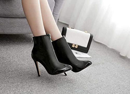 Zapatos 40 De Vestido Cm De UE Boda Tamaño Botín Punta Botas Zapatos Mujeres Puntiagudos Black Tobillo OL 5 35 11 Aguja Casual Corte nwqTv1S7