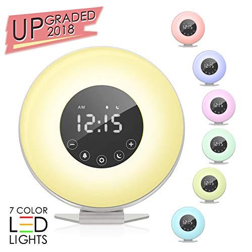 Light Natural Alarm Clock (Sunrise Alarm Clock, Wake up Light 6 Nature Sounds, FM Radio, Color Light, Bedside Sunrise Simulator,Touch Control for Heavy Sleepers - White)