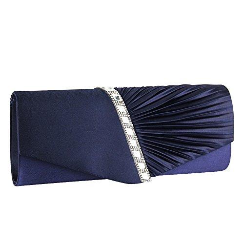 Ladies Pleated Prom Clutch Handbag Bag Chain blue Diamante Navy Handbag Wedding Purse Bridal Womens Evening ele ELEOPTION Envelope Satin Party Bag wSEAwX7q