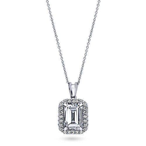 BERRICLE Rhodium Plated Sterling Silver Emerald Cut Cubic Zirconia CZ Halo Pendant Necklace 18