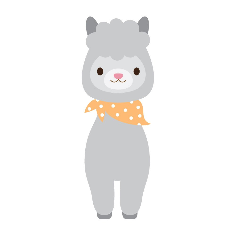 D/écor and more 4 Inch Full Color Vinyl Decal for Indoor or Outdoor use Windows Kawaii Cute Grey Llama With bandana Laptops Cars