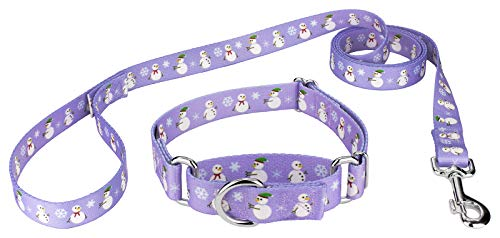Country Brook Design   Snowman Martingale Dog Collar & Leash - Small
