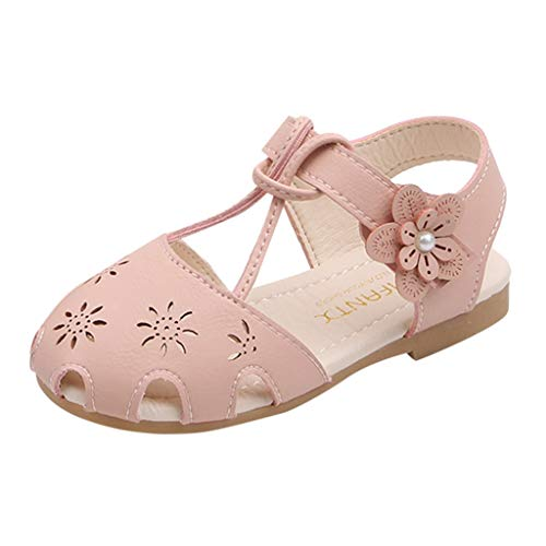 Tantisy ♣↭♣ Baby Girls Open Toe Non-Slip Rubber Sole Princess Sandals Fashion Marian Flower T-Strap Sandal for Little Girls Pink