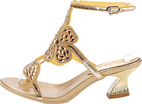 Salabobo L017 Womens Roman Comfort Chunky Mid Heel Open Toe Sandals Glaring Rhinestone Beautiful Pretty Performance Wedding Dress Bride Bridemaid Party Work Job Leisure Shoes Gold rVYakrub3