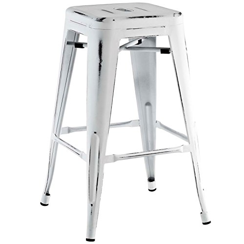 Modern Urban Industrial Distressed Antique Vintage Counter Stool Chair ( Set of 2), White, Metal by America Luxury - Stools (Image #2)