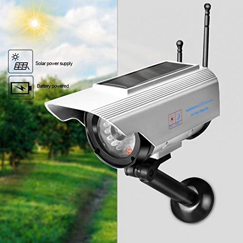 LBBZJM Dummy CCTV Camera Solar Power LED Fake Camera Outdoor Indoor Security Surveillance Silver Dummy Camera Fake Camera by LBBZJM