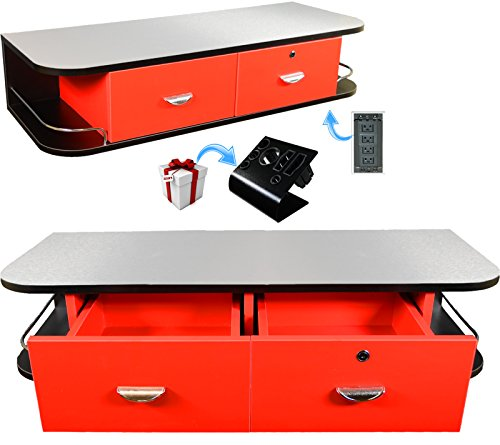 InkBed Red Locking Wall Mount Tattoo Station with Stainless Steel Top, Black Metal Instrument Holder & 4 Port Power Supply