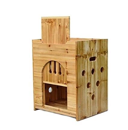 Bonwg Jerarquía del Animal doméstico/Madera / pequeña/Perrera / casa de Perro del