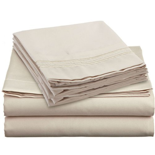 Split Cal King Royal Collection 1900 Egyptian Cotton Bamboo Quality Bed Sheet Set With 2 - 36''X 84'' Fitted, 1 Flat and 2 King P/Cases. Wrinkle Free Shrinkage Free (Split Cal King, Tan/ Cream)