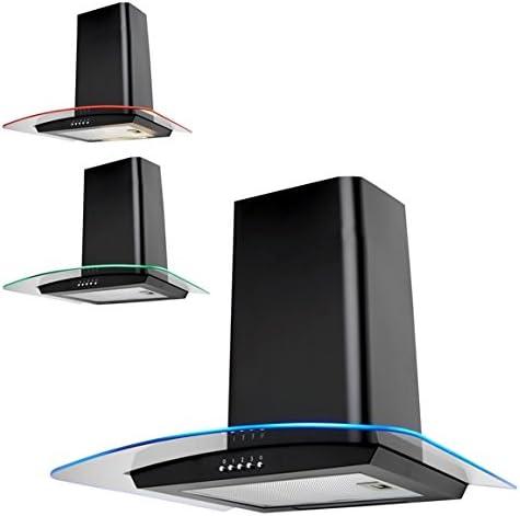 SIA 70 cm Campana extractora de cocina negra con cristal curvado con luces LED multicolor: Amazon.es: Grandes electrodomésticos