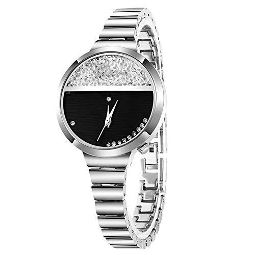 yanbirdfx Fashion Women Waterproof Rhinestone Round Dial Quartz Analog Wristwatch Gifts - Silver