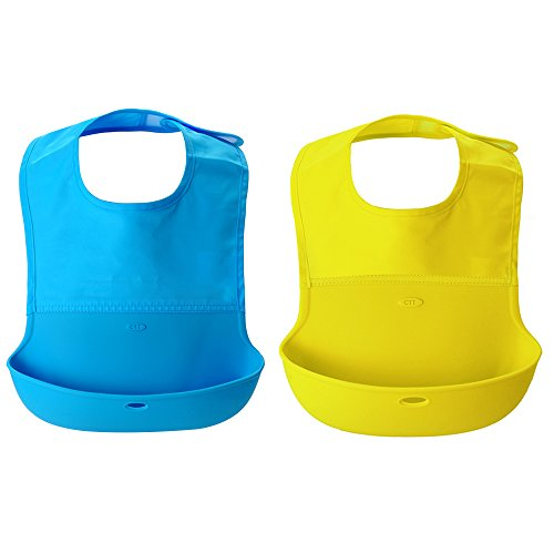 rollbibpake-of-2silicone-baby-bibs-with-comfort-fit-fabric-neck-infant-drool-burp-cloths-easy-to-rol