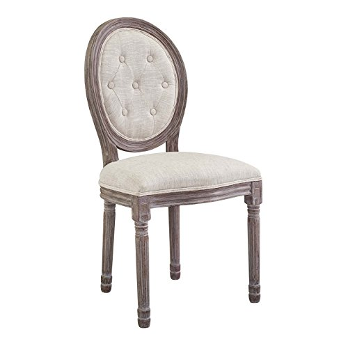 Modway Arise Vintage French Upholstered Fabric Dining Side Chair in Beige