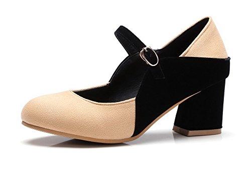 VogueZone009 Femme Couleurs Mélangées Dépolissement à Talon Correct Boucle Rond Chaussures Légeres Abricot Xc3Zfingn2