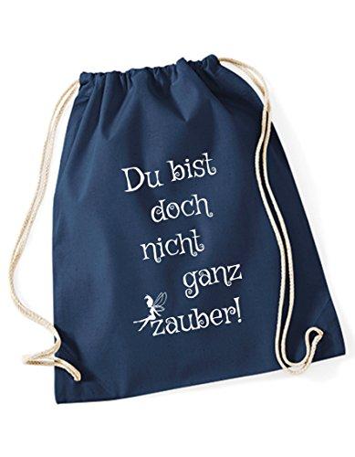 Turnbeutel bedruckt mit Spruch - nicht ganz zauber - / Rucksack / Sportbeutel / Gymsack / Gymbag mit Sprüchen von 3 Elfen - Hipster Beutel Bag - rot blau