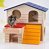 dingdangbell Wooden Pet Small Animal Hideout Rat Hamster Deluxe Two Layers Luxury Hous