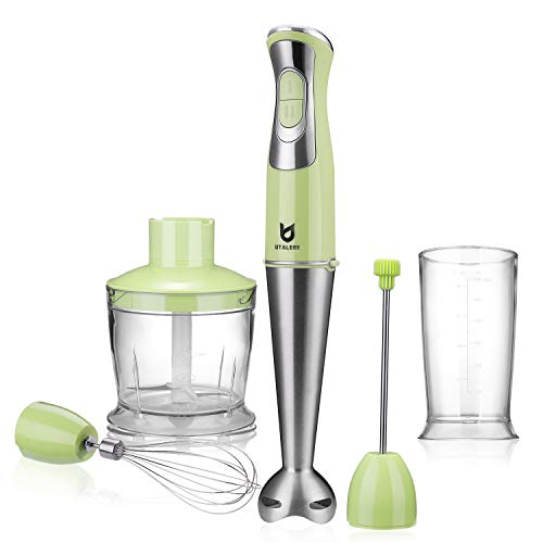 Immersion Hand Blender, Utalent 5-in-1 8-Speed Stick Blender with 500ml Food Grinder, BPA-Free, 600ml Container,Milk Frother,Egg Whisk,Puree Infant Food, Smoothies, Sauces and Soups - Green
