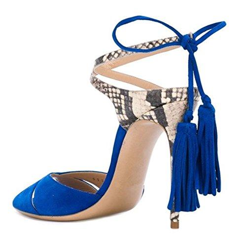 Shoes Women's Stiletto Honeystore Heels Sandals Peep Toe Tassel Blue Fringe Pumps zOwwdAq