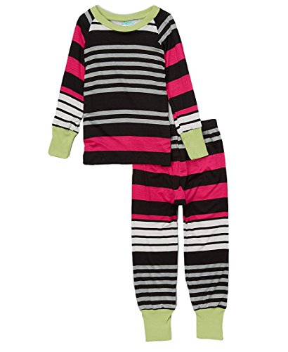 Cat and Cow Girls' 6 Pink & Black Racer Stripe Pajamas
