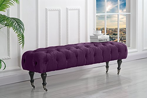 Classic Tufted Velvet Bedroom Vanity Bench with Casters (Purple)