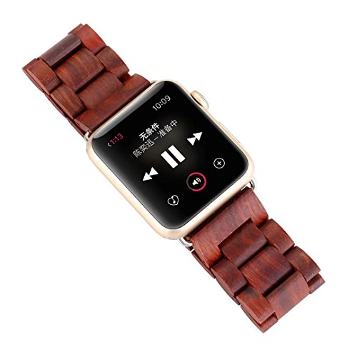 2016 Newest Apple Watch Wooden Band,AIYIBEN Bracelet Strap Classic Wristband Wood Bracelet Strap for Apple iWatch Sport & Edition (42MM Red)
