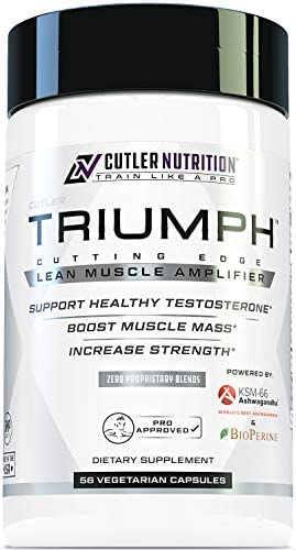 Triumph Testosterone Booster for Men Best Test Booster and Estrogen Blocker for Men with DIM, KSM 66 Ashwagandha, and Boron Citrate, Build Natural Lean Muscle Mass and Strength, 56 Veggie Capsules