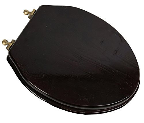 (Bath Décor 5F1E2-18AB Elongated Toilet Seat in Traditional Design with Antique Brass Metal Hinges, Dark Brown Stained Finish)