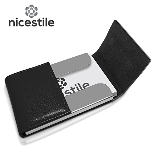 NICESTILE Business Card Holder, PU Leather Stainless Steel Name Card Case Holder with Magnetic Shut Double Sided Open (Black) by NICESTILE (Image #1)