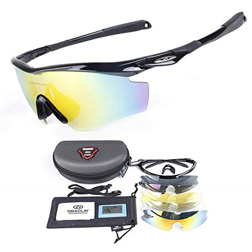 (VDV Bicycle Accessories Polarized Cycling Glasses Riding Sunglasses Anti-UV Shortsighted Lenses Holding Glasses Goggles Fishing Eyewear with 4PCS Lenses Bicycle Accessories for Men-A)
