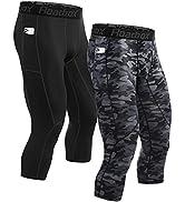 Roadbox Mens 3/4 Compression Pants with Pockets Running Base Layer Legging Tights