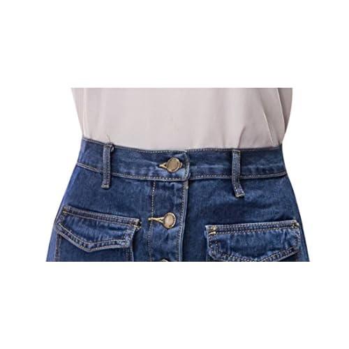 b08a846bd6 hot sale 2017 Tanming Women s Button Front Midi Denim Jean Skirt ...