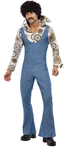 Smiffys Men's Groovy Dancer Costume, Jumpsuit With Attached Mock Shirt, 70 Disco, Serious Fun, Size M, 33216