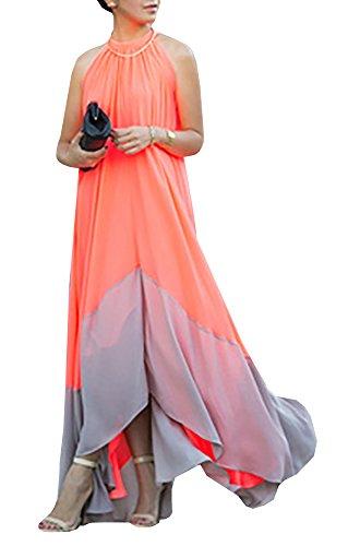 Farktop Women's Sexy Plus Size Sling Striped Beach Chiffon Maxi Casual Dress (S, Orange 01) Colorblock Jacket Dress