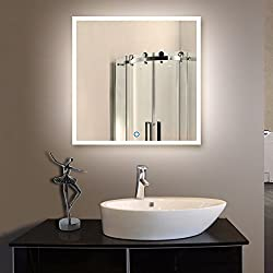 Decoraport 36 Inch Horizontal and Vertical Square LED Wall Mounted Lighted Vanity Bathroom Silvered Mirror with Touch Button (A-N031-E)