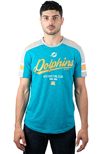 Miami Dolphins Nfl Team (NFL Men's Miami Dolphins T-Shirt Vintage Varsity Stripe Short Sleeve Tee Shirt, X-Large, Blue)