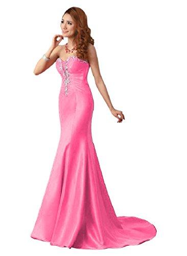 Emily Abendkleider Meerjungfrau Kristall trägerlos Beauty Rose lang UdfcyXw16