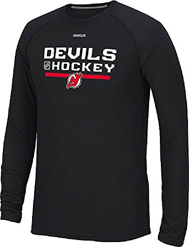 New Jersey Devils Heather Black Reebok Locker Room Ultimate Synthetic Long SleevePerformance Shirt (XX-Large)