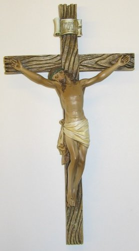 Crucifix Christ - Roman Traditional Figure Textured Wood Look 4.25 x 8 Resin Stone Wall Crucifix